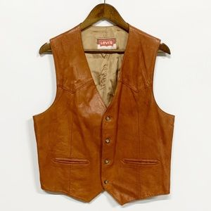 Levi's | Vintage Tan Leather Button-up Vest L